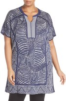Nic+Zoe Plus Size Women's Split Neck Reversible Knit Jacquard Tunic