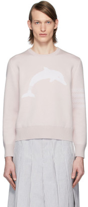 Thom Browne Pink Dolphin Icon 4-Bar Crewneck Sweater