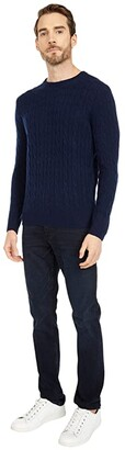 J.Crew Classic Cable Cashmere Crew (Navy) Men's Clothing