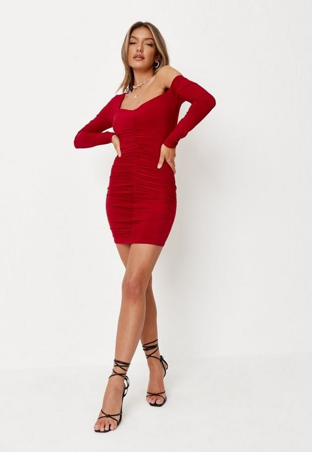 Missguided Red Off The Shoulder Slinky Ruched Mini Dress