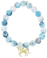 Sydney Evan Unicorn Charm On Larimar Beaded Bracelet