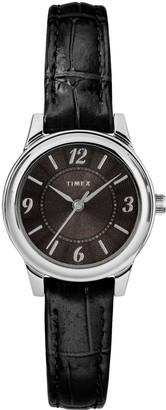 Timex Women's Black Leather Strap Watch