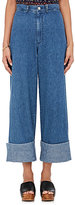 Sea Women's Cuffed Crop Wide-Leg Jeans-BLUE