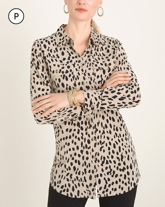 Chico's Silky Soft Petite Dotted Cheetah-Print Utility Pocket Shirt