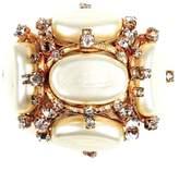 Chanel CC Logo Gold Tone Metal Museum Xl Pearl Crystal Pin Brooch Charm