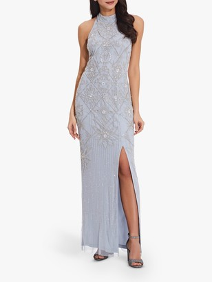 Adrianna Papell Beaded Side Slit Column Gown, Glacier