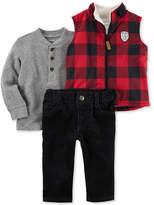 Carter's 3-Pc. Plaid Vest, Henley Top & Pants Set, Baby Boys