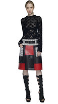 Proenza Schouler Red Patchwork Skirt With Whipsnake