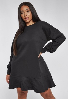 Missguided Plus Size Black Frill Hem Sweater Dress
