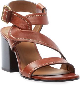 Chloé Candice Topstitch Leather Block-Heel Sandals