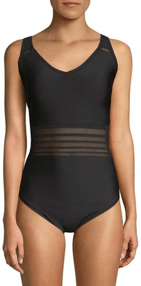 Calvin Klein Women's mesh Insert one Piece Swimsuit with Removable Soft Cups