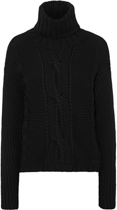 DUFFY Cable-knit Merino Wool Turtleneck Sweater