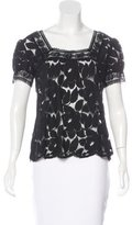Anna Sui Lace Short Sleeve Top