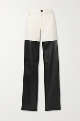 Peter Do Paneled Cotton-twill And Faux Leather Straight-leg Pants - Ivory