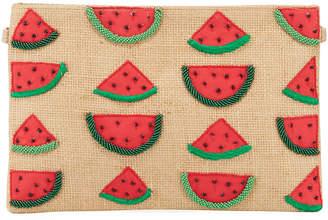 Area Stars Watermelon Beaded Zip-Top Clutch Bag