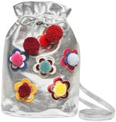 Simonetta Pompom Floral Laminated Faux Leather Bag