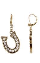 Betsey Johnson Gold Crystal Horse Shoe Drop Earrings