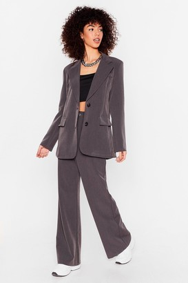 Nasty Gal Womens Let's Make It Work High-Waisted Wide-Leg Pants - Grey