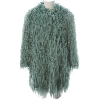 Philosophy di Alberta Ferretti Green Mongolian Lamb Coat for Women