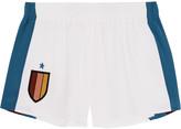 Stella McCartney Striped silk-appliquéd stretch-cady shorts