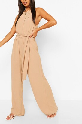 boohoo High Neck Belted Jumpsuit
