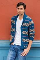 Men's Blue and Brown Alpaca Cardigan Sweater from Peru, 'Blue Chakana'