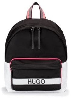 HUGO BOSS Logo Backpack In Nylon Gabardine - Black