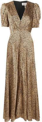 Saloni leopard-print silk dress