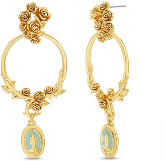 Steve Madden Women's Floral Open Circle With Religious Dangle Charm Yellow Gold-Tone Large Drop Earrings One Size