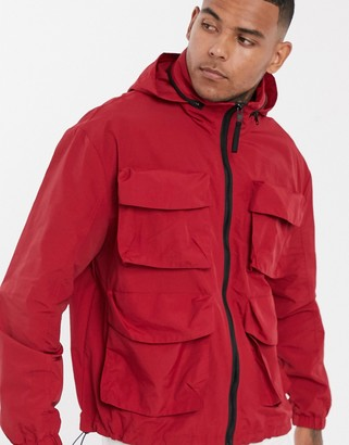 Asos Design DESIGN utility jacket with funnel neck in red