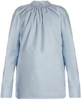 Marni Buttoned-back ruffled-neck blouse