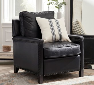 Pottery Barn Tyler Leather Square Arm Recliner With Nailheads