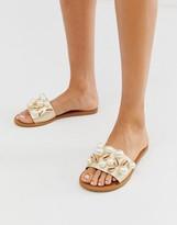 Asos Design DESIGN Fountain premium leather embellished flat sandals