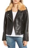 Blank NYC BLANKNYC Faux Fur Collar Faux Leather Moto Jacket