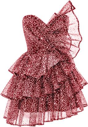 Rasario Ruffled Sequined Tulle Corset Mini Dress