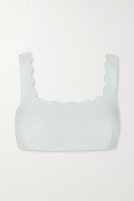 Marysia Swim Palm Springs Scalloped Stretch-crepe Bikini Top - Gray green