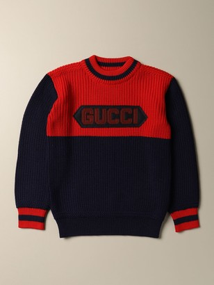 Gucci Bicolor Wool Pullover With Logo