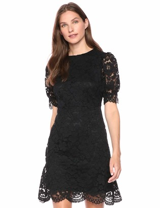 Lark & Ro Corded Lace Puff Sleeve Dress Black 8