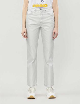 Topshop Foil Editor straight-leg high-rise jeans