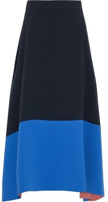 Roksanda Flared Two-tone Crepe Midi Skirt
