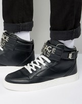 Versace Jeans High-top Trainers In Black With Metal Logo Strap