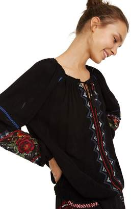 Desigual Sofia Tie-Neck Peasant Blouse with Long Balloon Sleeves