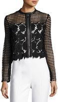 Neiman Marcus Floral-Lace Zip-Front Jacket, Black