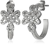 "Freida Rothman Gramercy"" Sterling Silver and Cubic Zirconia Love Knot Hoop Earrings"