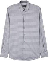 Pal Zileri Grey Cotton Jacquard Shirt