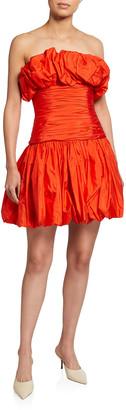 Carolina Herrera Taffeta Strapless Mini Cocktail Dress