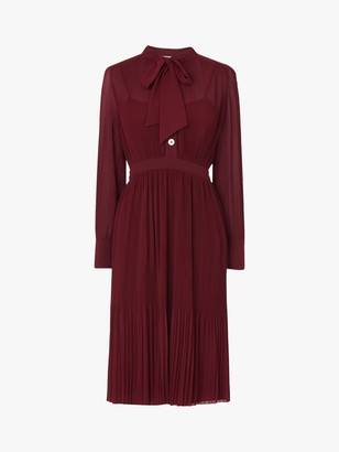 LK Bennett Singer Pleated Georgette Dress, Burgundy