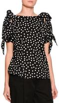 Dolce & Gabbana Polka-Dot Bow-Sleeve Blouse, Black/White