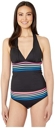 La Blanca Spectrum Halter Tankini (Black) Women's Swimwear