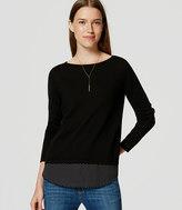 LOFT Petite Dotted Mixed Media Shirttail Sweater